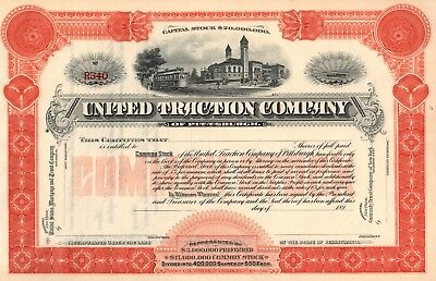 "Rare - United Traction Company - ""unissued"" Stock Certificate - Common - Red"