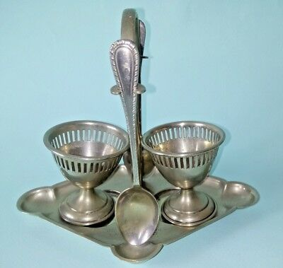 ART DECO  2 EGG CUP STAND AND SPOONS - Superb Quality and Design