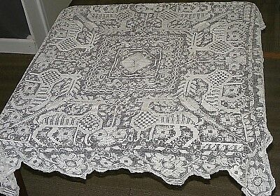 """Antique Linen Tablecloth Intricate Needle Lace with Deer & Flowers 41"""" Square"""