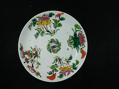 Antique Chinese pottery plate / bowl with famille rose flowers 19th c