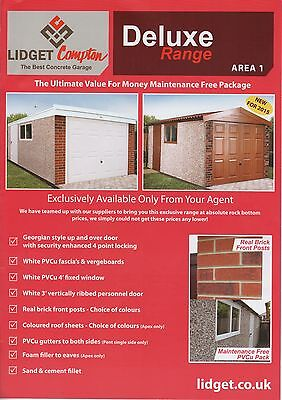 """Apex  Deluxe 16Ft3"""" X 9Ft6"""" Deluxe Apex Concrete Sectional Garage"""
