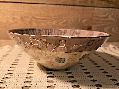 Vintage Art Deco Hand Painted Pottery Bowl Iridescent