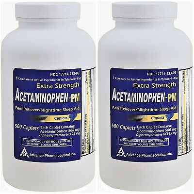 Acetaminophen PM Generic for Tylenol PM 1000 Caplets Pain Reliever Sleep Aid