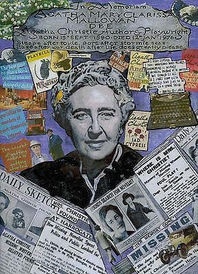 Agatha Christie Art  Mixed Media Collage On Wood Signed Original Ready To Hang