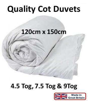 Quality Cot Bed Duvet Soft Non Allergenic Nursery Baby Toddler 4.5 7.5 9 Tog -UK