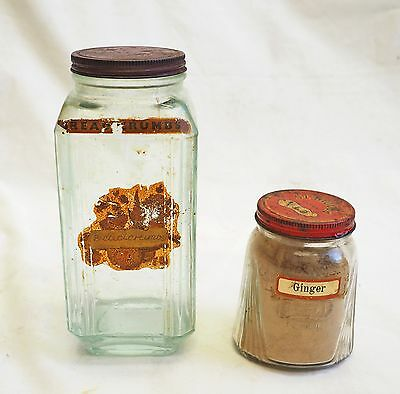 2 Vintage Glass Jars Eta Brand Art Deco Retro Antique Ginger Bread Crumbs