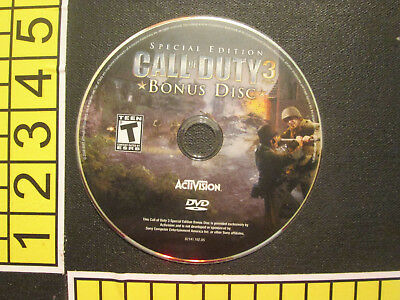 Bonus Disc ONLY - Call of Duty 3 - AcTiVision Treyarch Sony PlayStation DVD