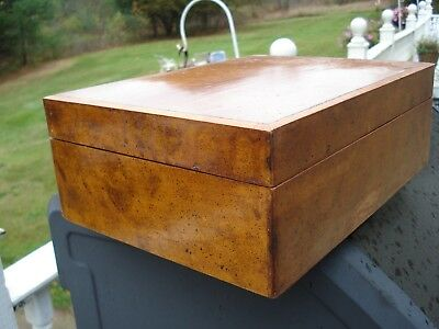 antique burl wood humidor glass lined,  inlaid edges, some wear, seals tightly