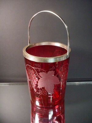 "Scarce Pairpoint Glass Cranberry Ice Bucket w/Grape Wheel Cut Designs ""AS FOUND"""