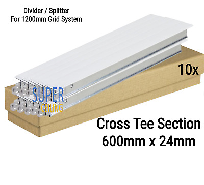 White Cross Tee Section, 600mm x 24mm, Suspended Ceiling Grid System Component