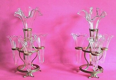 Pair Of Antique French Glass Epergnes On Bronze Stand