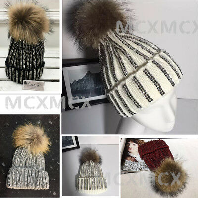 261bbdb0b96 New Ribbed Studded Diamante Knitted Beanie Pom Pom Hat Large Fur Bobble Hats