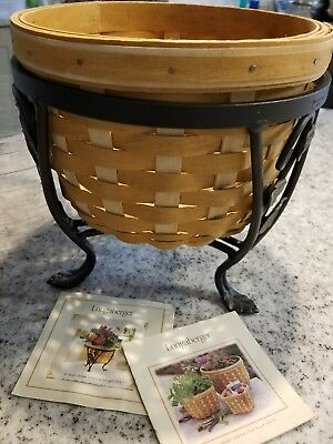 LONGABERGER  Large Flora Plant Basket with Iron Stand and Protector