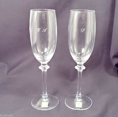 2 Hoya Crystal Champagne Flutes Stems In Box Wine Japan Glass