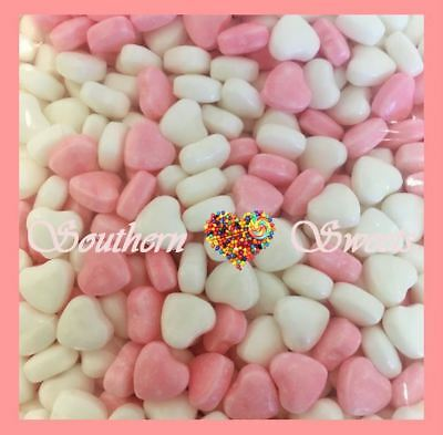 Pink & White Hearts Candy Pink And White Lollies 1Kg Approx 200Ct