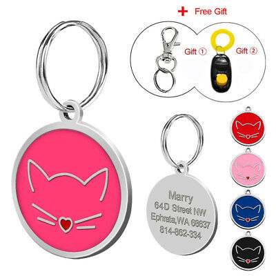 Round Personalized Dog Tags Custom Engrave Cat ID Name Tag for Pets Free Clicker
