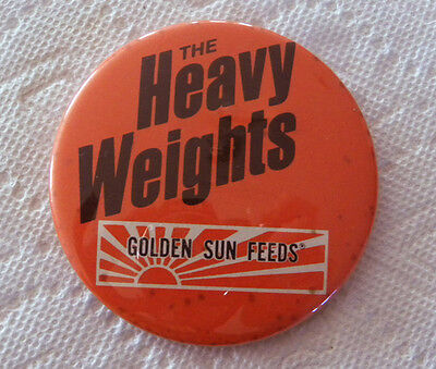 """Vintage Golden Sun Feeds """"Heavy Weights"""" Livestock Cattle, Hog Feed Large Pin"""
