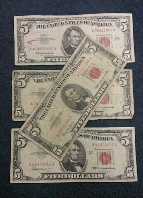 Estate Lot of 1963 $ 5.00 Red Seals - 4 Note Lot - $20.00 Face Value -
