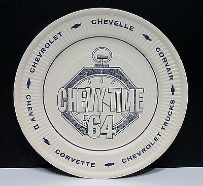 NOS Paper Plate 1964 Chevrolet Dealer Promotional Chevy Time 64 Cars Trucks