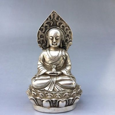 Old Chinese Tibet Silver Handmade Carved Buddha Lotus base Statue