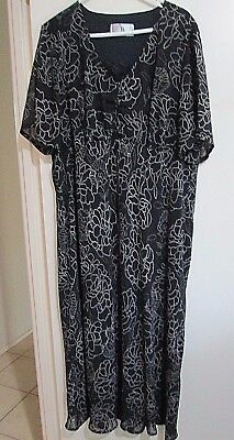 BIB  size  22  Lovely Slinky Polyester Dark Brown & Cream Dotted SUMMER Dress.