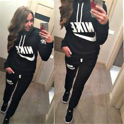 Womens Casual 2pcs Tracksuit Hooded Sweatshirt Fitness Yoga Leggings Sports Suit