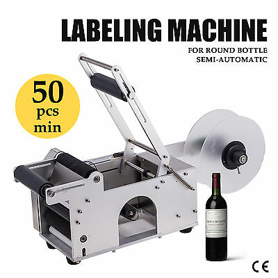 Semi-automatic Round Bottle Labeller Labeling Machine, 120W Upgrated