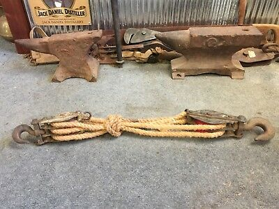 Vintage Industrial Rustic Farm Block & Tackle Pulley Set Bar Man Shed