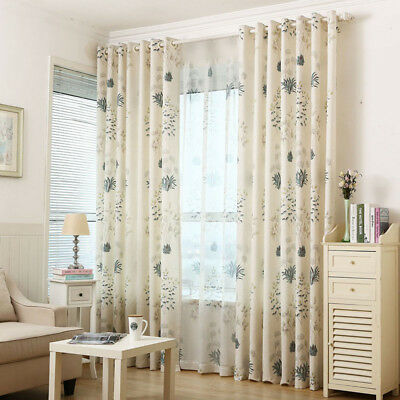 1 Piece Cotton Linen Curtain Set Shade Cloth & Sheer Tulle Pastoral Modern Drape