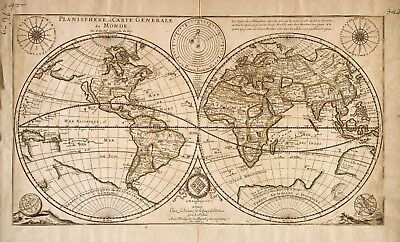 "old world map antique  art print vintage for glass frame 36"" x 24"" painting"