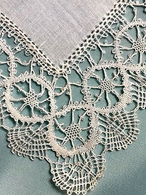 Antique Dentelles White Belguim Lace Bridal Hanky New In Box-Unused