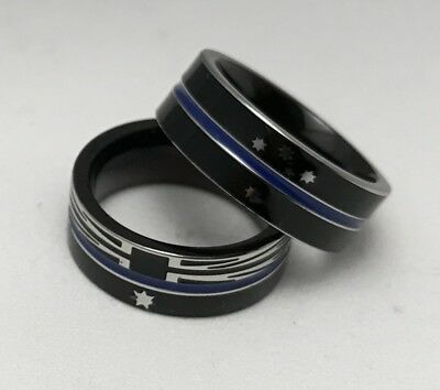 Thin Blue Line Ring, Australian Flag, Police, Titanium Steel, Size 11 Ring