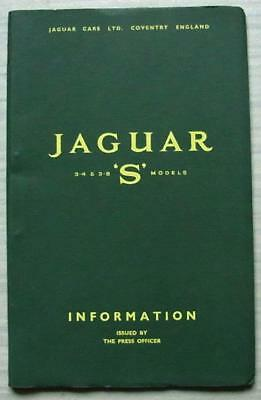 JAGUAR 3.4 & 3.8 S MODELS Car Press Information Booklet c1965 FRENCH TEXT