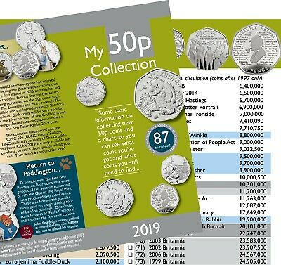 Great Britain Coin Collecting Hunt • 50p Information Leaflet and Chart