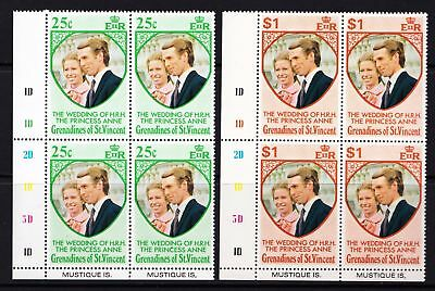 Grenadines of St Vincent 1973 Royal Wedding - Two MNH blocks of 4   - (124)