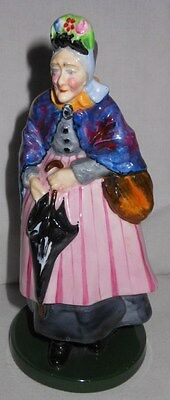 Vintage Crown Staffordshire Figure, Lady With Umbrella & Shopping Bag