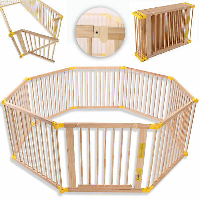 8 side Baby Child Wooden Foldable Playpen Play pen XXL Room Divider Heavy Duty