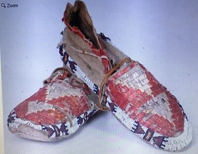 "Late 1800s Vintage Native American Sioux Beaded and Quilled Moccasins 11"" long"