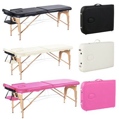 Wooden Folding Beauty Massage Table Facial Tattoo Therapy Couch Bed Carry Bag UK