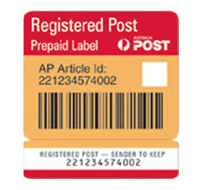 10 x Registered Post Labels Prepaid Signature On Delivery NEW