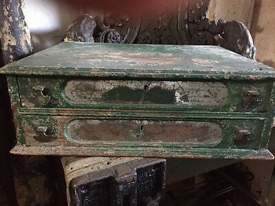 Antique two drawer spool cabinet