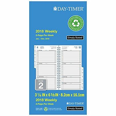 "Day-Timer Refill 2018 Two Page Per Week January 2018 - December 2018 3-1/2"" x"