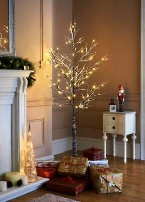 6ft Snowy Effect Warm White Twig Tree Pre-lit 120 LED XMAS Lights Indoor/Outdoor