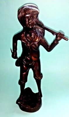 Beautiful Antique Bronzed Spelter Figure Of A Harvester Farm Hand