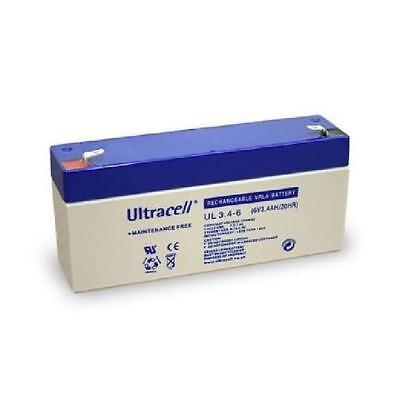 Ultracell UL3.4-6 : Batterie au plomb étanche 6V 3.4AH : 134x34x60mm