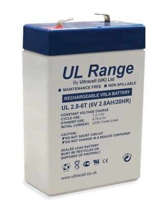 Ultracell UL2.8-6 : Batterie au plomb étanche 6V 2.8AH : 66x33x97mm