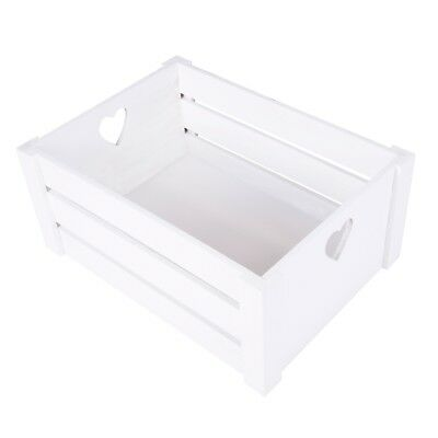 White Lovely Heart Handle Wooden Crates Storage Shelves Box Christmas Gift