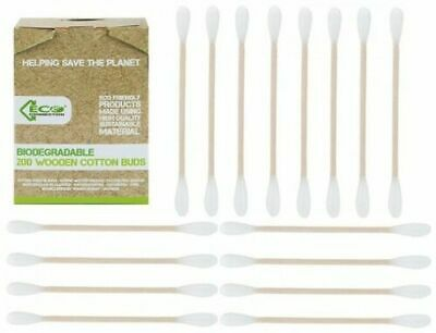 Biodegradable Wooden Cotton Buds Sustainable Plastic Free Pack of 200