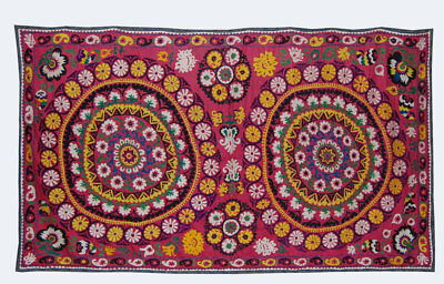 Large Uzbek Hand Embroidered Silk On Cotton Old Suzani Of Baysun Kuf-225