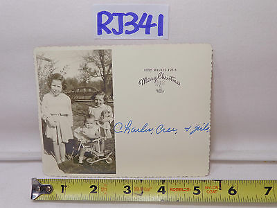 Vintage Christmas Postcard 1940's Family Picture 2 Girls+Baby Old Car Background